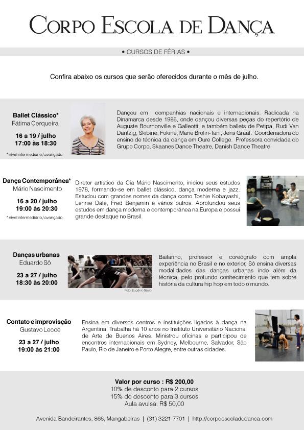 Cursos de Férias Corpo Escola, julho 2012
